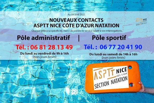 contact de la section natation téléphone et nom du club sur une planche posée sur l'eau d'une piscine